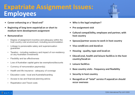 Australian expat assignment issues for employees and employers